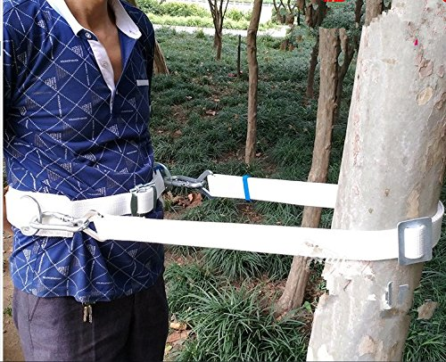 HUAWELL Safety Belt with Two Side Adjustable Lanyard,Cement Pole & Tree Climbing Construction Harness Protective Gear, Personal Protection Fall Arrest Kit (White)