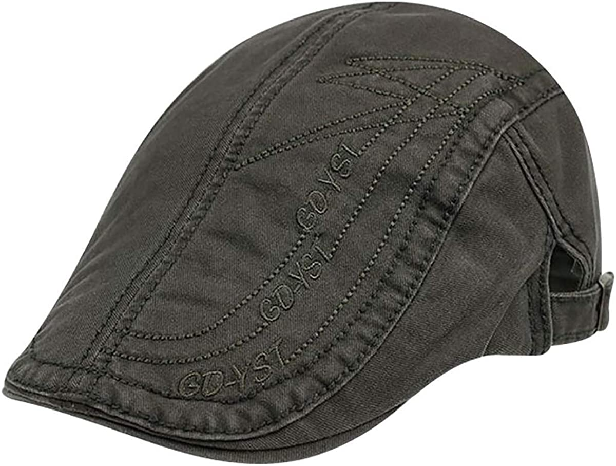 TONGDAUS Caps Men Cotton Adjustable Flat Cap Embroidery Duckbill Newsboy Gatsby Irish Hat Hat Color : 3, Size : Free Size