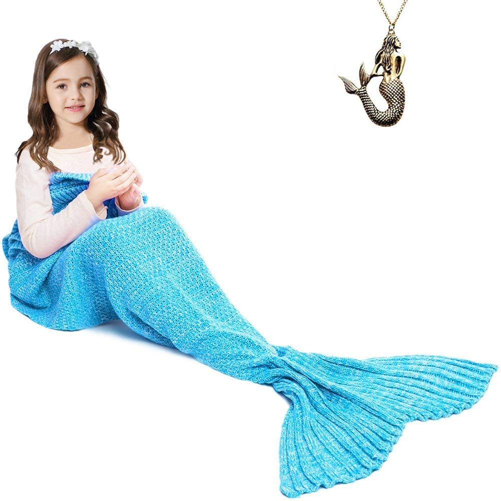 JR.WHITE Mermaid Tail Blanket Kids, Hand Crochet Snuggle Mermaid,All Seasons Seatail Sleeping Bag Blanket (Kids-Blue-2)