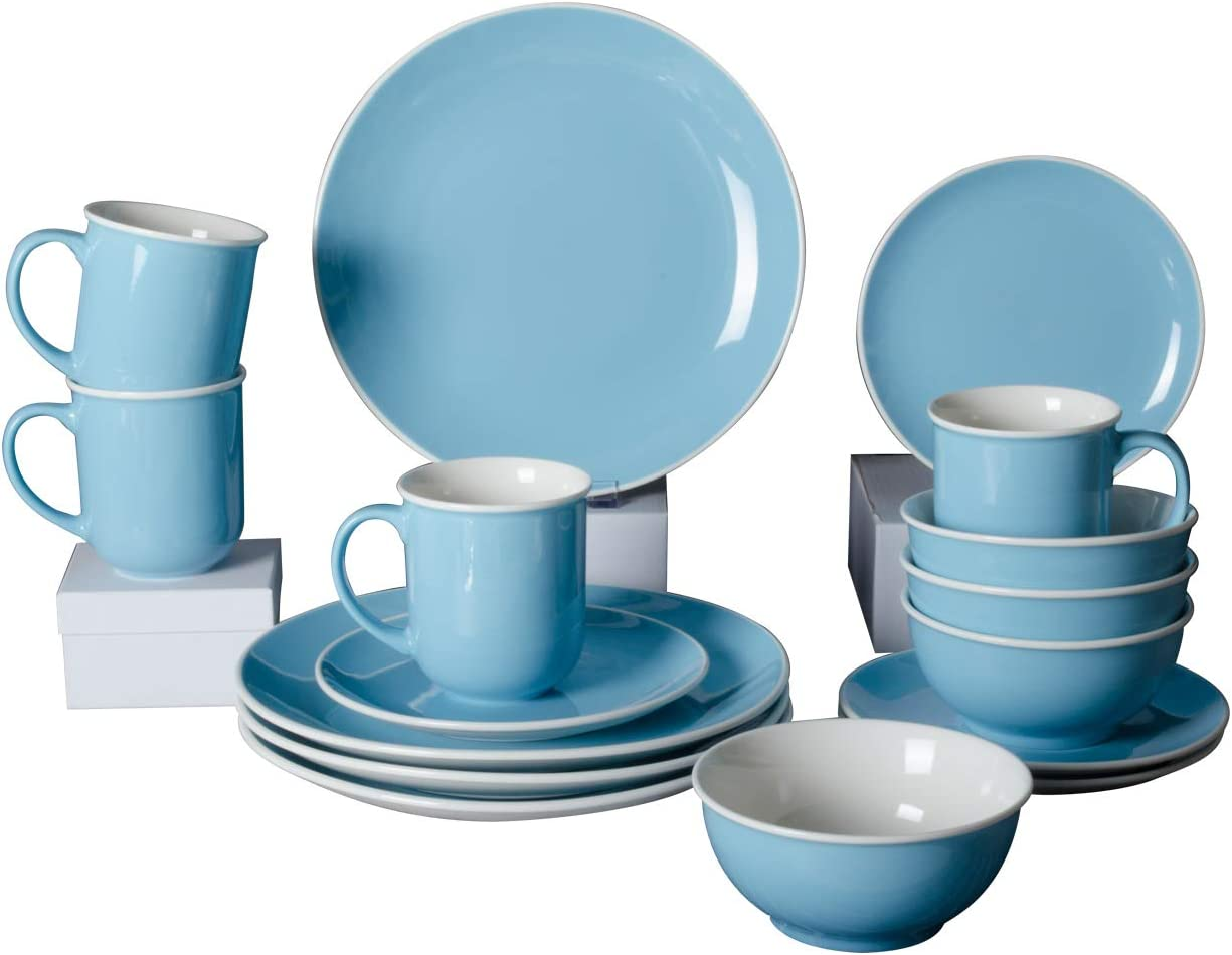 Xiteliy Ceramic Dinner Plate Sets, Plates, Bowls, Mugs, 4 Piece,Service For 4 (16, Light Blue)