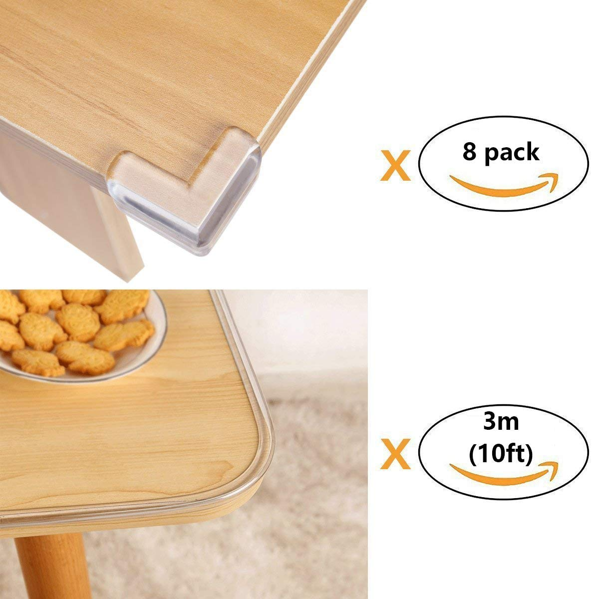 Wemk New Transparent Table Edge Furniture Corner Protectors 1 Rolls 8 Corner Protectors 10ft Widen /& Thicken Baby Proofing Edge Safety Bumpers Strip Safety for Child 10ft per roll
