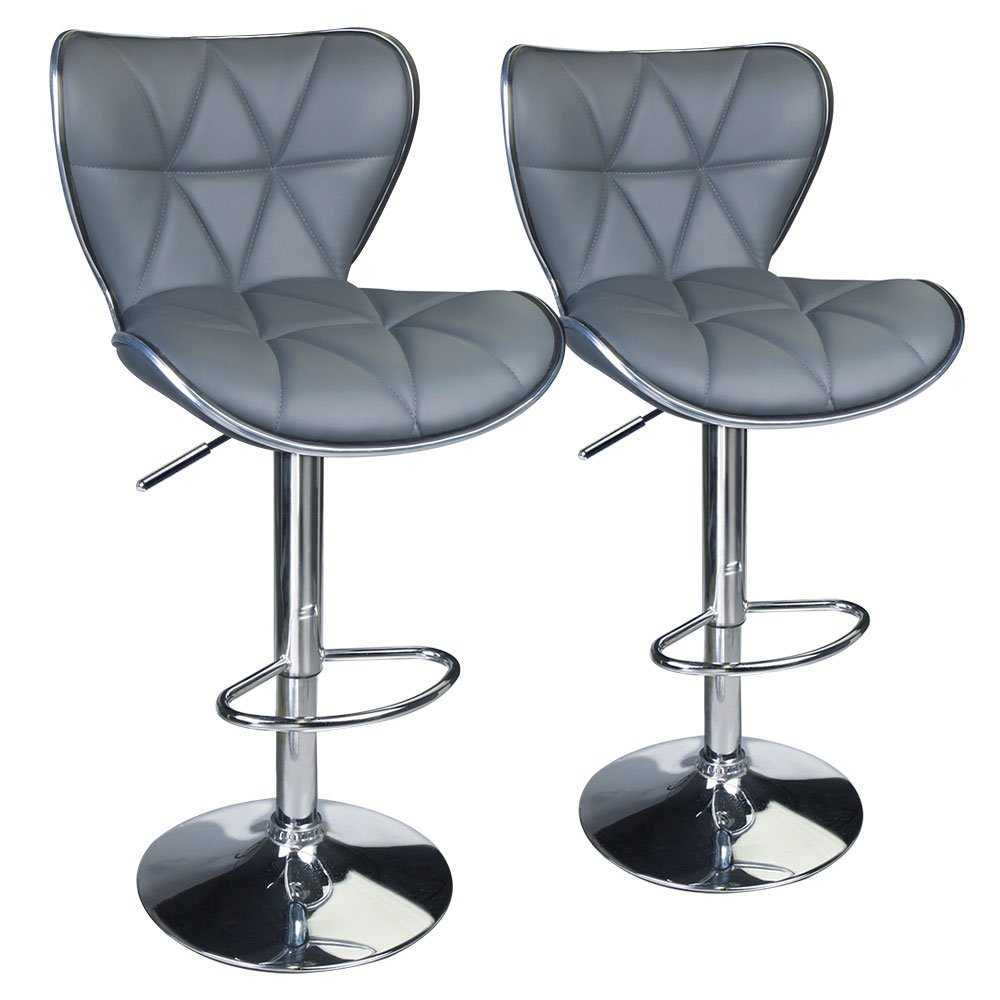 Leopard Shell Back Adjustable Swivel Bar Stools, PU Leather Padded with Back, Set of 2 (Black) LEOPARD PRODUCTS