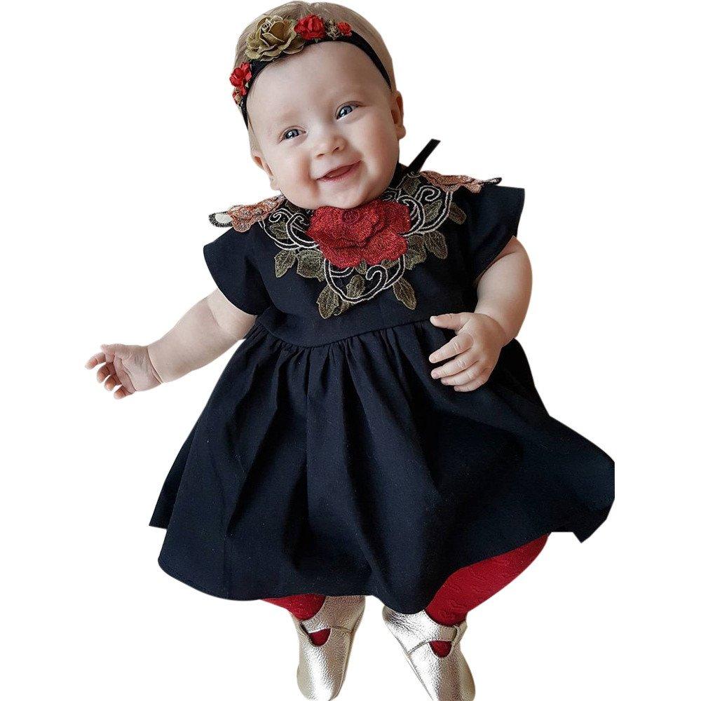 feiXIANG Vestido de Princesa del Vestido del Vestido de Boda del Partido de la Manera del Vestido de la Princesa del Vestido del bebé de la Muchacha del niño del Vestido Negro Negro