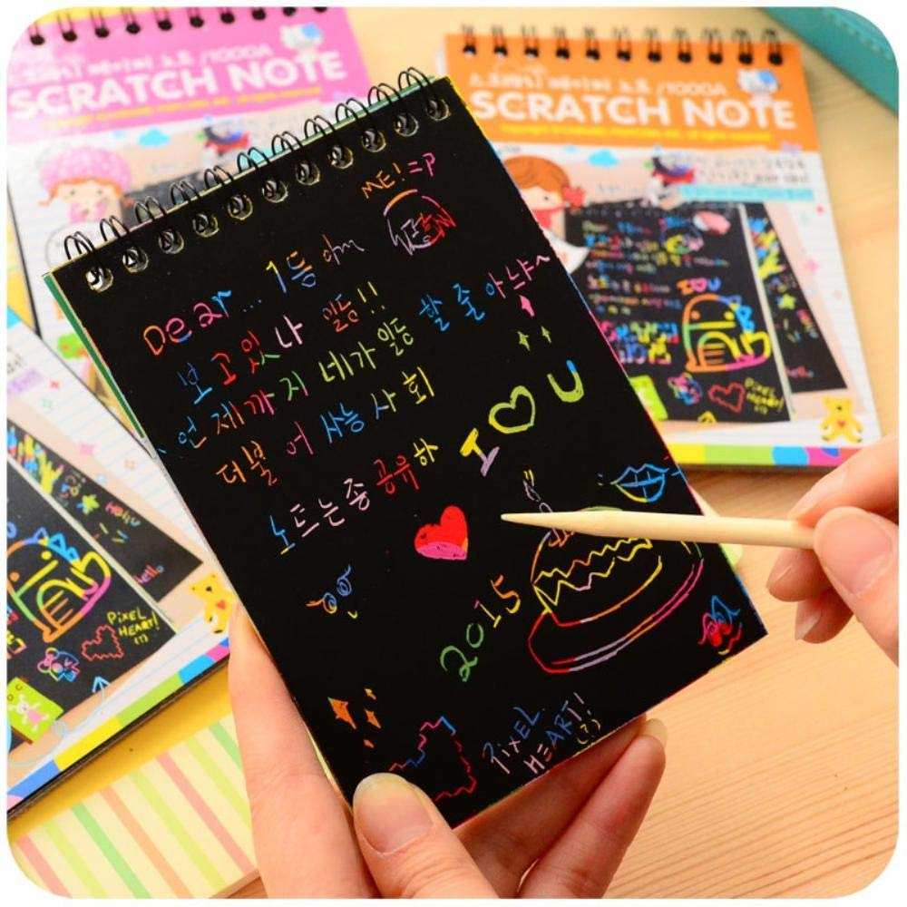 12 pcs/Lot Novelty drawing book DIY Scratch note Sketch Black cardboard book for toy carderno Escolar Supplies
