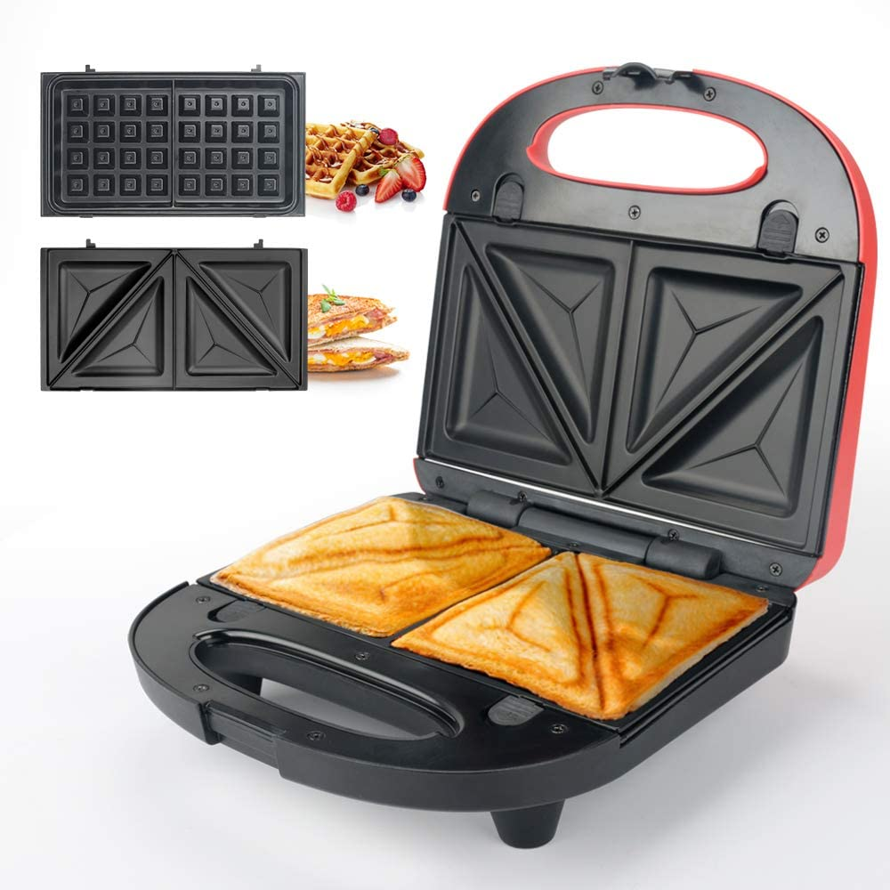 Sandwich Maker, Waffle Iron, Multifun 2-in-1 Waffle, Omelet and Turnover Maker with Non-stick Detachable Plates, LED Indicator Lights, Cool Touch Handle, Anti-Skid Feet, Easy to Clean - Red