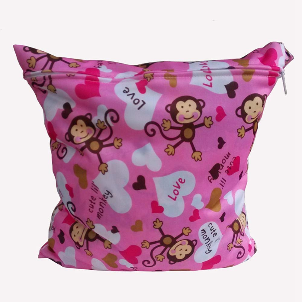 Waterproof Zipper Bag Washable Baby Cloth Nappy Changing Diaper Bag (Monkey) Gadgets mall