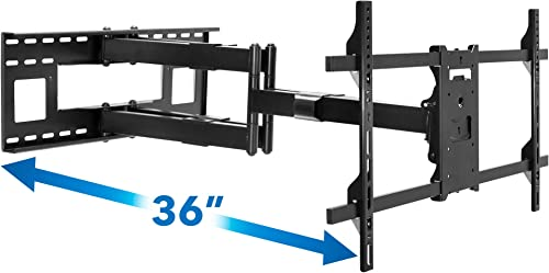 Mount-It Long Extension TV Mount, Dual Arm Full Motion Wall Bracket with 36 inch Extended Articulating Arm, Fits Screen Sizes 50 55 60 65 70 75 80 85 90 Inch, VESA 800x400mm Compatible, 176 lb