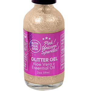 Body Glitter Gel. 100% Eco Glitter Gel for Face Eyes Body Lips Hair. All Natural - No Parabens, Organic Aloe Vera Gel. Moisturizing and Sparking Beach Pink Glitter. 59ml by Ruth Paul Skin