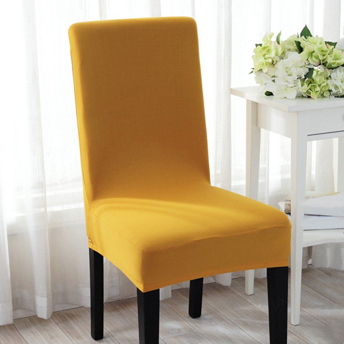 Pinji 4PCS Spandex Stretch Chair Cover Dining Room Home Decor Removable Washable Slipcover Protector Yellow