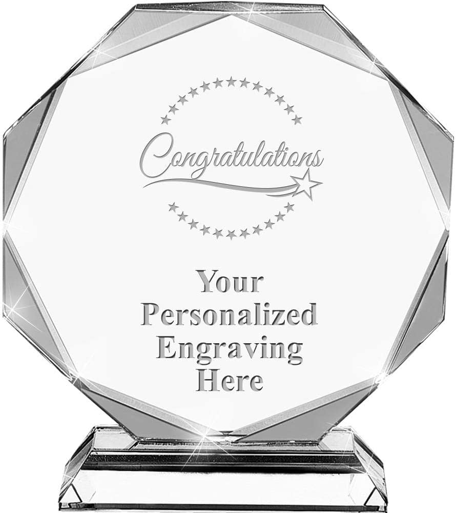 6.75 Custom Congratulations Award with Engraving Included Congratulations Crystal Awards