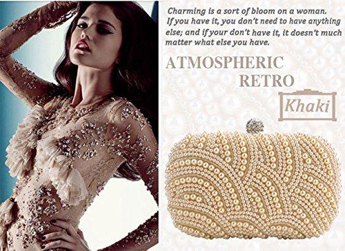 Khaki Evening Beaded Wedding Party Handbag Bridal Clutch Fashion Bag Zeagoo Purse qnvU8O