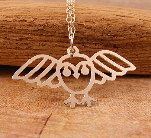 [Owl Pendant Necklace on Sterling Chain 18 Inches Long] (Original Cute Costumes Ideas For Women)
