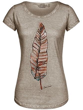 Urban Surface Damen T-Shirt Top Feder Feather LUS-097 Pailletten-Print Light