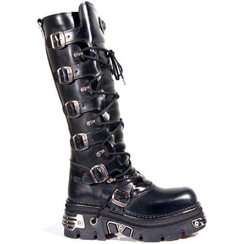 sports shoes a8267 964c9 NEWROCK New Rock 272 metallici gotico nero stivali unisex Buckle Top  Stivali Zip pelle