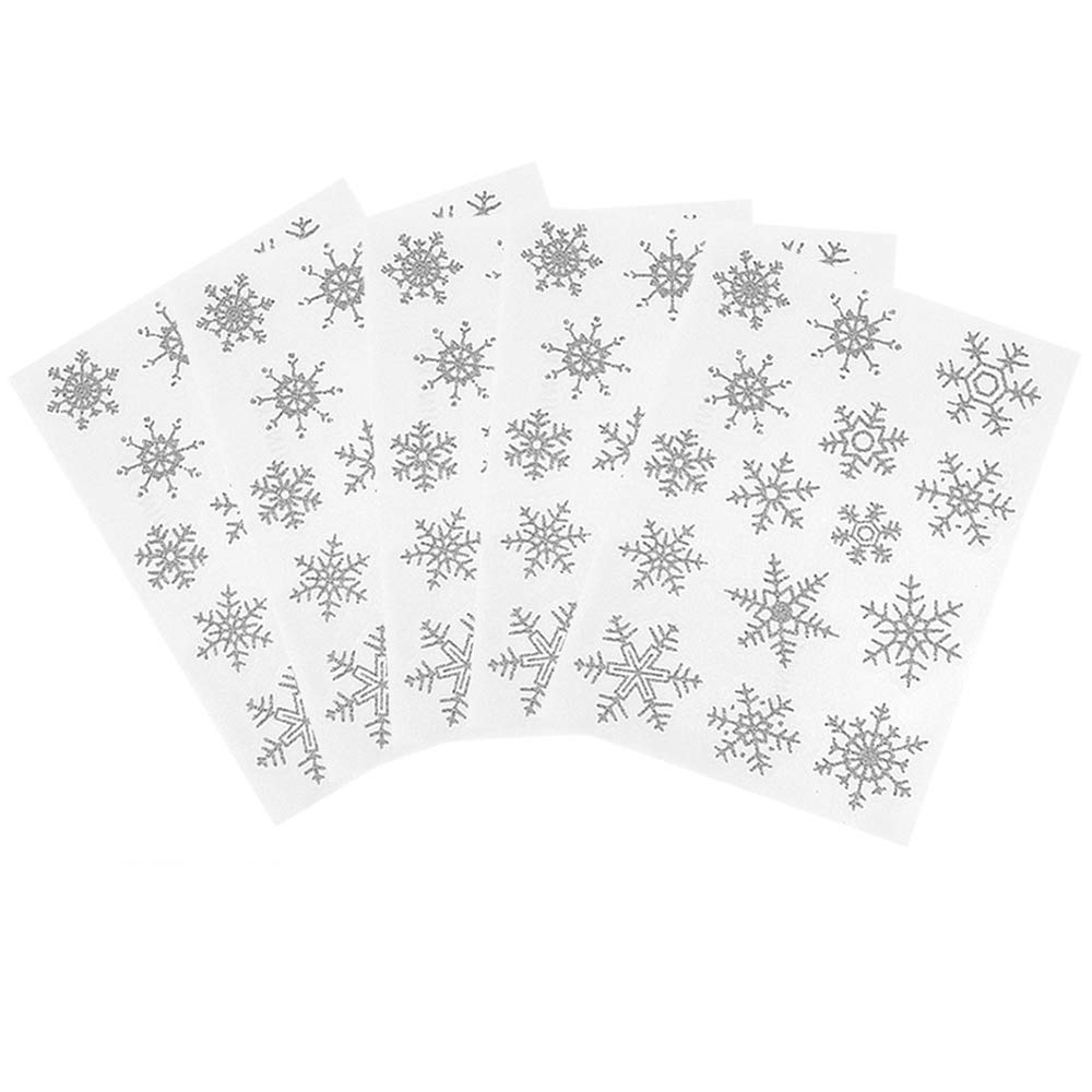 White And Silver Reusable Window Clings 5 Snowflake Glitter Window Stickers