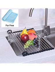 NEX Dish Drying Rack Over-The-Sink Folding Dish Drainer for Kitchen Use Drying Mat(D001)