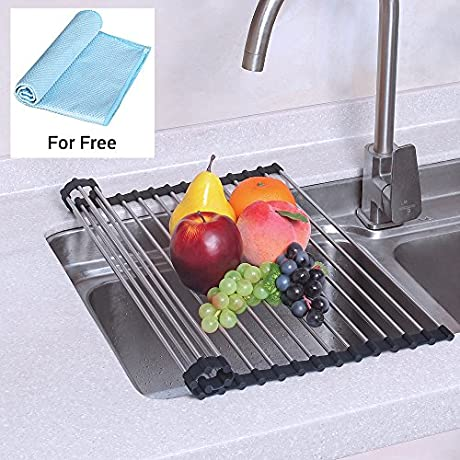 NEX Dish Drying Rack Over The Sink Folding Dish Drainer For Kitchen Use Drying Mat D001