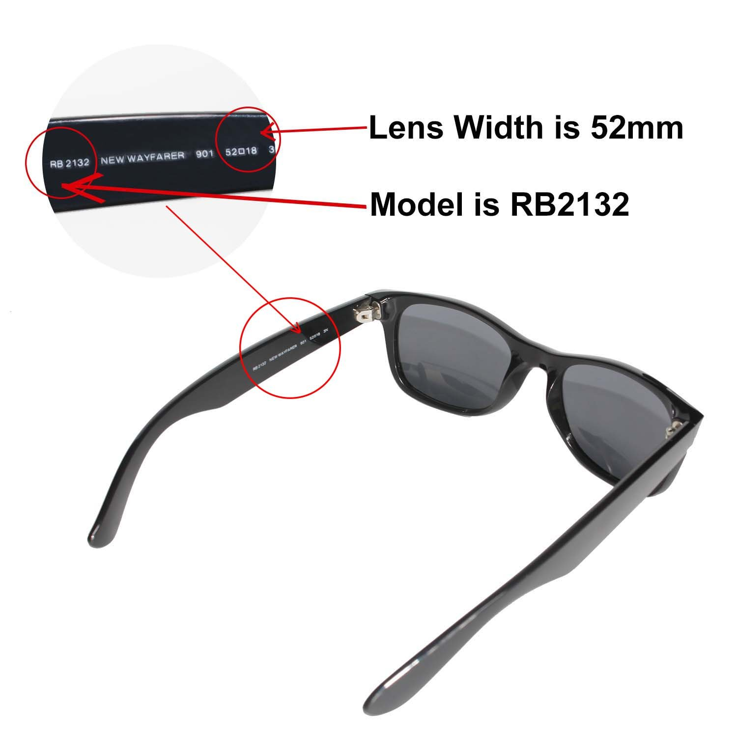 f7ae18c6162 Amazon.com  Walleva Replacement Lenses for Ray-Ban Wayfarer RB2132 52mm  Sunglasses - 9 Options Available (24K Gold Mirror Coated - Polarized)   Clothing