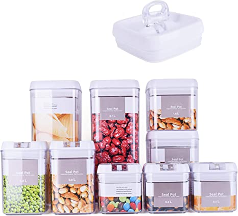 Amazon Com Dragonn 9 Piece Airtight Food Storage Container Set With Labels Pantry Organization And Storage Keeps Food Fresh Big Sizes Included Durable Bpa Free Containers Dn Kw Fs09 Kitchen Dining