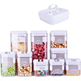 DRAGONN 9 Piece Airtight Food Storage Container Set with Labels, Pantry Organization and Storage, Keeps Food Fresh, Big…