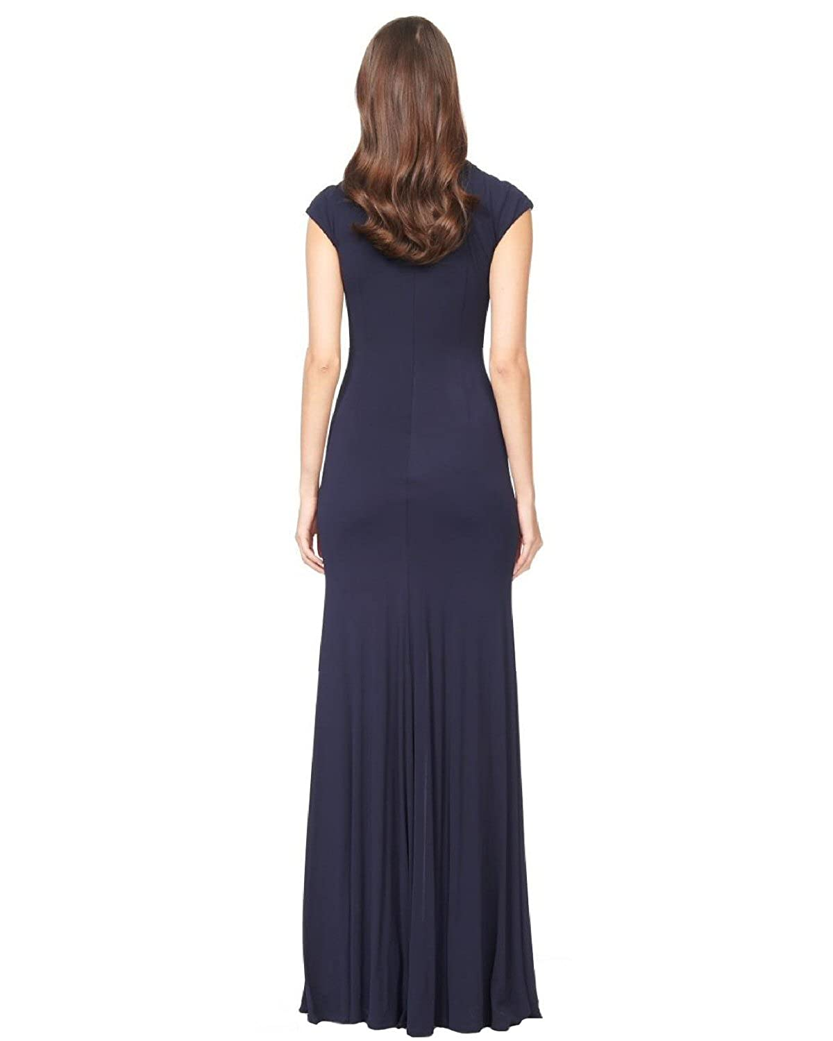 Amazon.com: David Meister Embellished Cutout Jersey Evening Gown ...