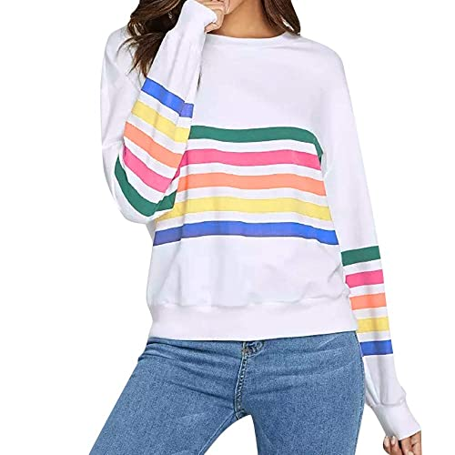 8f4286bee9a Amazon.com: Amiley Autumn Women's Rainbow Stripes Sweatshirt Tops ...