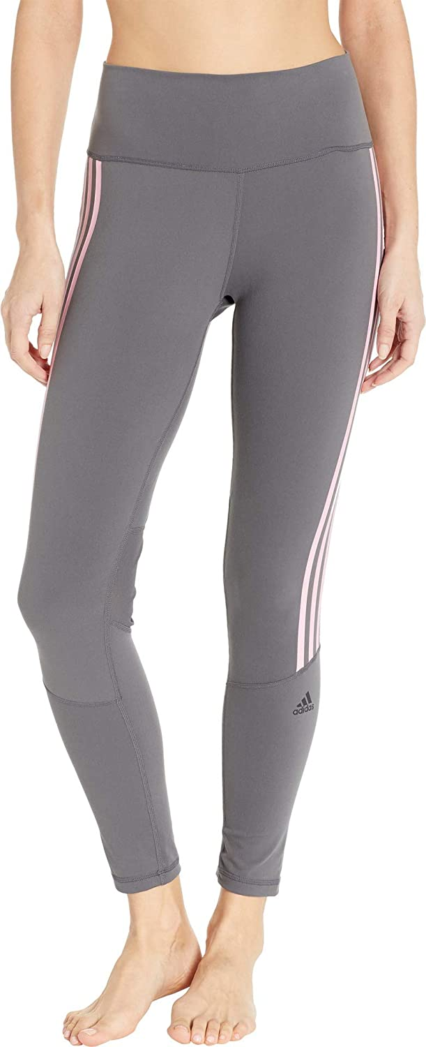 Women's Adidas Grey/True Pink Believe This High Rise 7/8 Length 3-Stripes Tights -