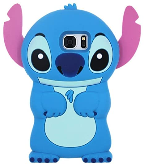 promo code 193b3 7be34 Blue Stitch Case for Samsung Galaxy S6,3D Cartoon Animal Cute Fun Character  Soft Silicone Rubber Protective Cover,Kawaii Animated Funny Cool Skin ...