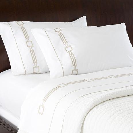 Ethan Allen Camdyn Embroidered Flat Sheets, White/Flax, Queen Flat Sheet