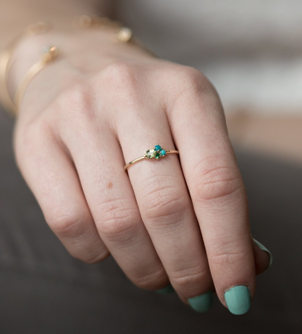 Amazon.com: Turquoise, Sapphire and Emerald Mini Cluster Ring in 14k ...