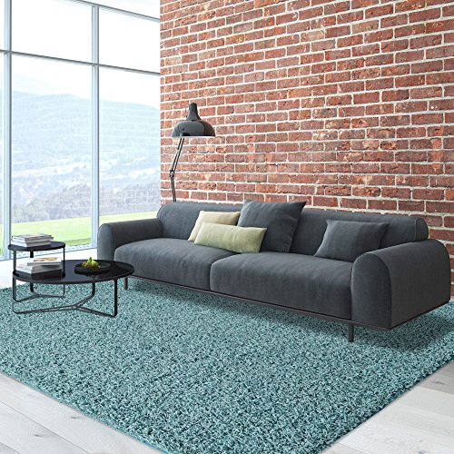 icustomrug dixie cozy soft and plush pile 5ft0in x 7ft0in 5x7 shag area rug in ocean blue - 5x7 Area Rugs