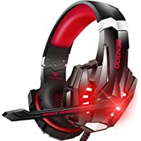 BENGOO Stereo Pro Gaming Headset for PS4, PC, Xbox One Controller, Noise Cancelling Over Ear Headphones with Mic, LED…
