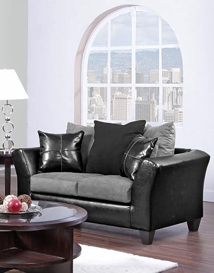 Chelsea Home Furniture Gamma Loveseat, Jefferson Black/Sierra Graphite