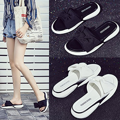 Walking Black Sandals Beach for Summer Slippers T JULY Fashion on Women Comfy Mesh Bowknot Wedges Slip Dress UaxST