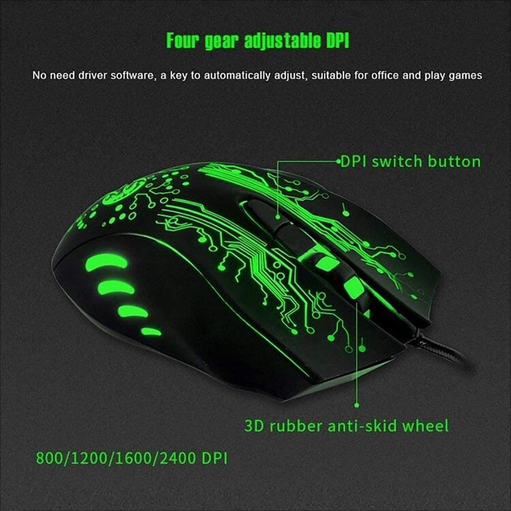 LIYUNSHU Estone X9 USB 6 Buttons 5000 DPI Wired Multi Color LED Optical Gaming Mouse for Computer PC Laptop Black
