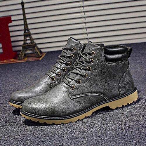 Sky Los Hombres del Tobillo Bajo Recortar el Tobillo Plano Botas de Otoño Invierno Casual Martin Shoes Zapatos Al Aire Libre a Prueba de Agua (44, Gris)