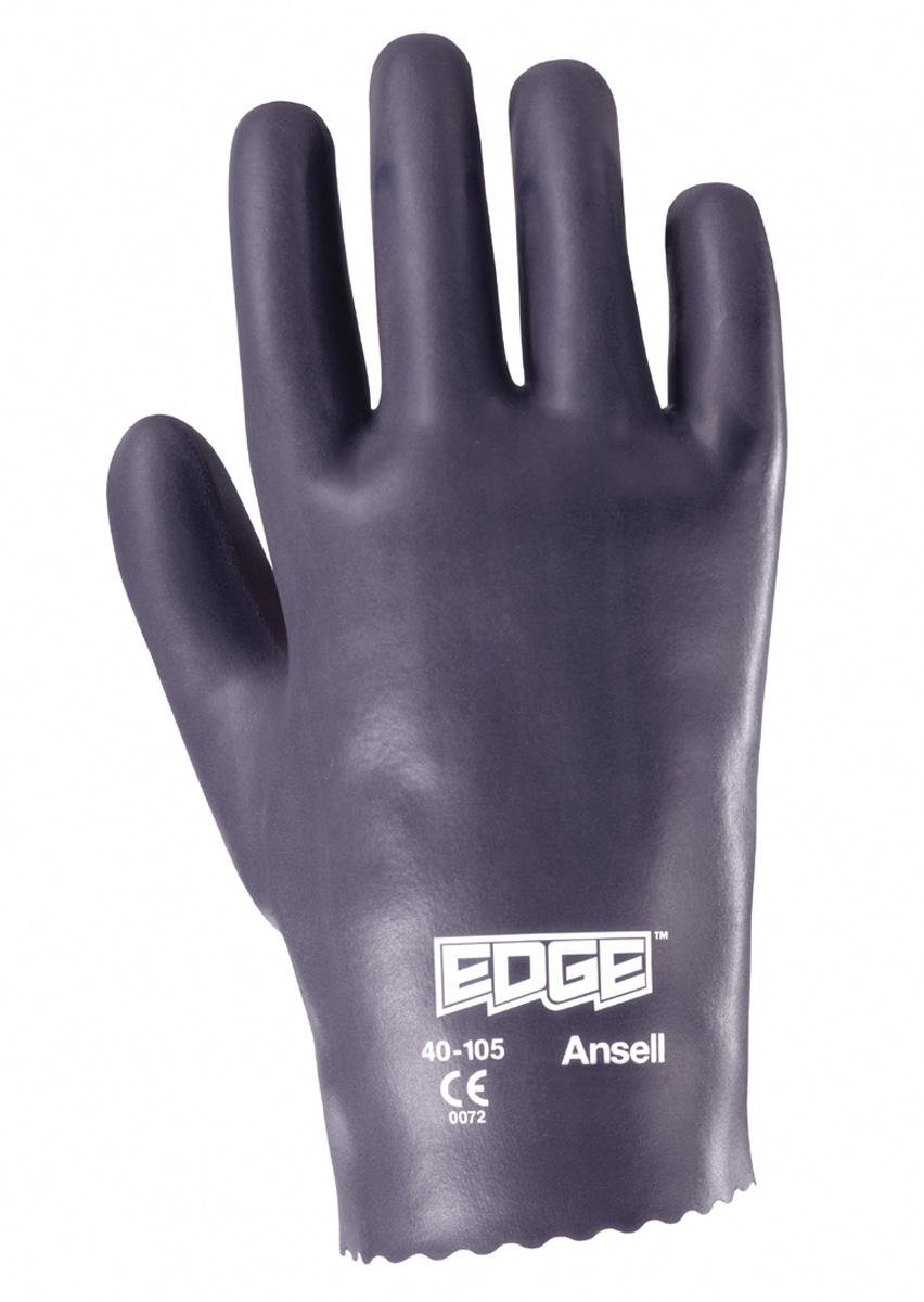 Ansell 401059 Edge 40-105 Nitrile Coated Slip-On Safety Gloves, 10'' Length, 4.5'' Width, 0.5'' Height, Size 9, Gray (Pack of 12)