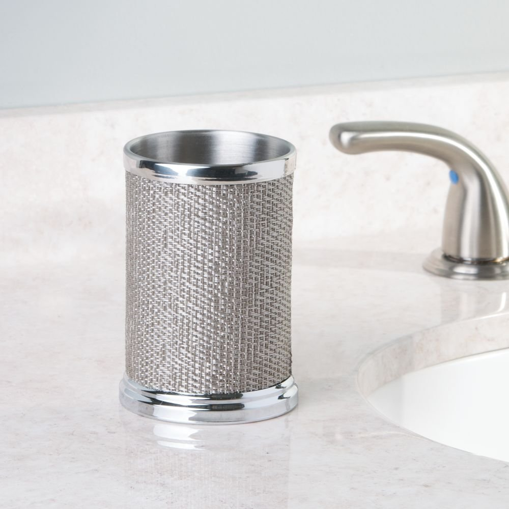 Made of Metal Toothbrush Cup and Holder Metallic InterDesign Twillo Drinking Cup for the Bathroom