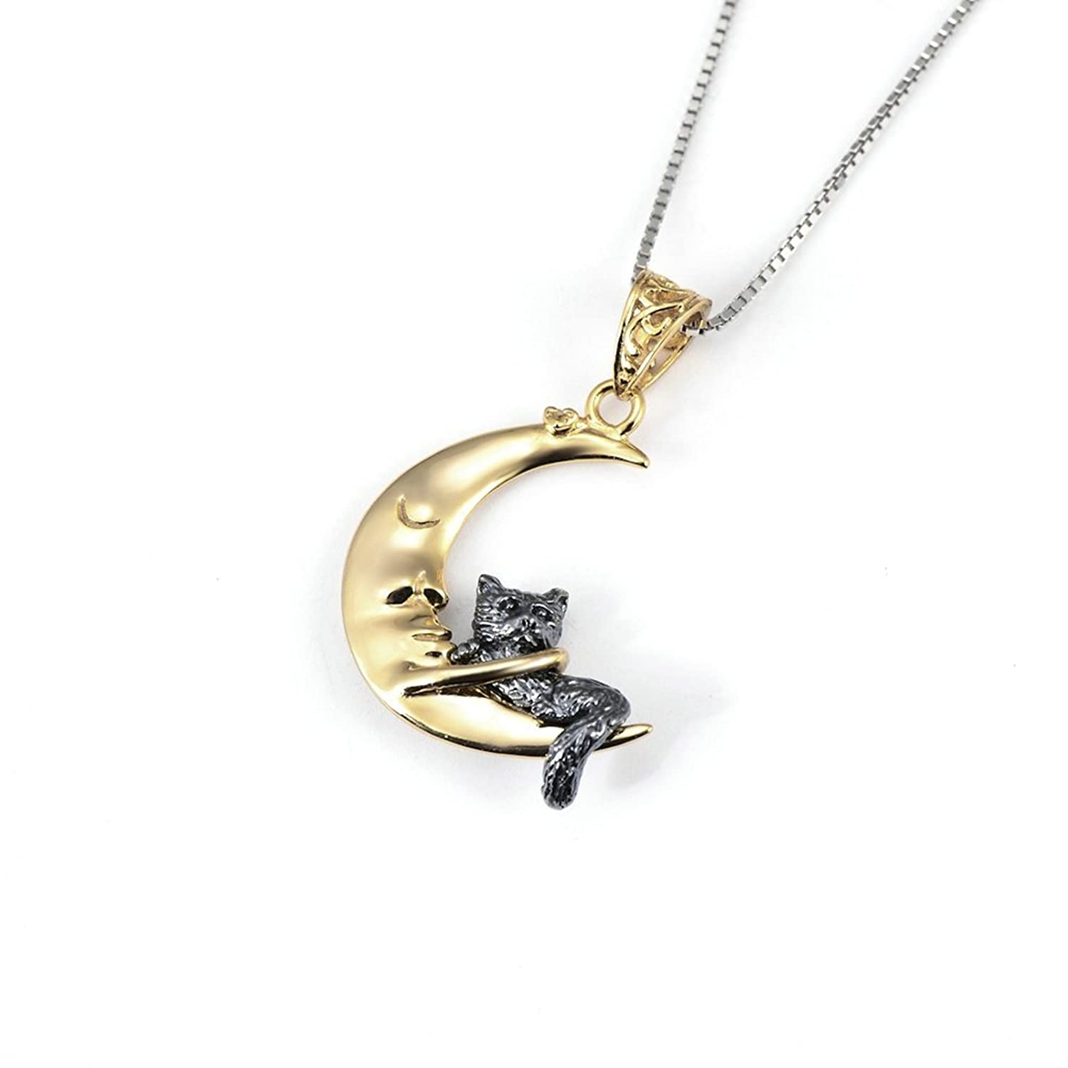Aooaz Jewelry Silver Plated Three Tone Inspirational Animal Cat on Moon Crescent Pendant Necklace 18