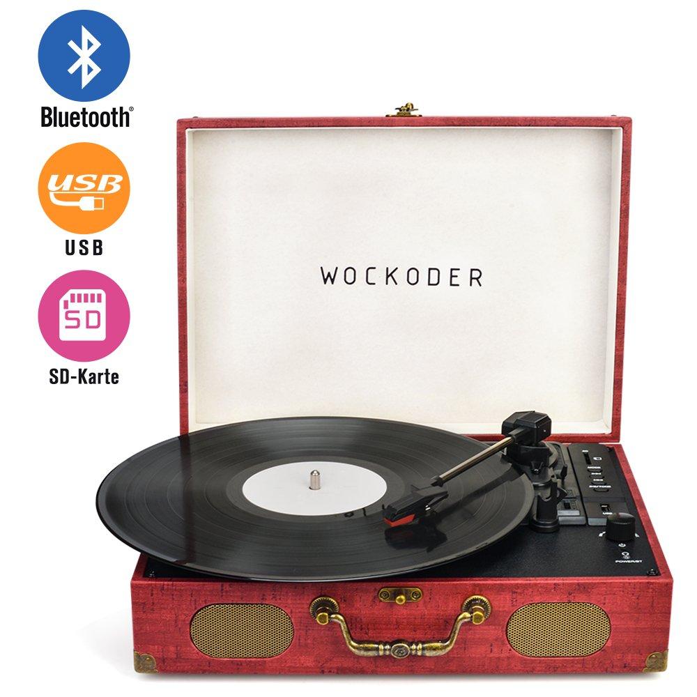 Wockoder tocadiscos rojo oscuro: Amazon.es: Electrónica