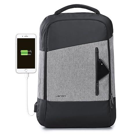 JSVER Mochila para portátiles laptop USB Mochila de seguridad Impermeable 15.6 pulgadas Mochila con Puerto de