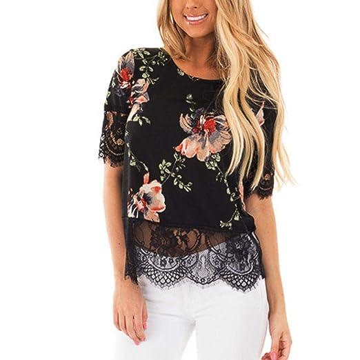 e139eb74b2f109 Staron Sexy Women Floral Print Lace Harf T-shirt Casual Blouse Tops ...