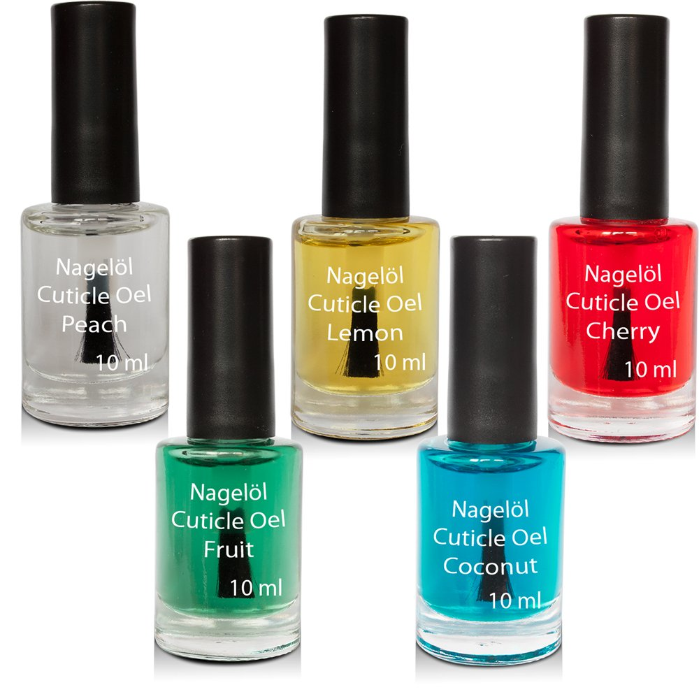 Nagelöl in einer Pinselflasche Set N°1, Peach, Lemon, Cherry, Fruits, Coconut 5x10ml Kosmetik Excellent 3398