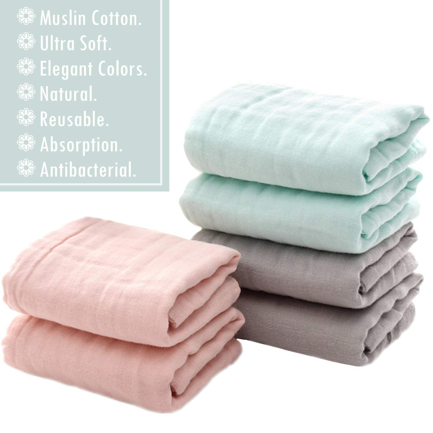 Baby Wipes for Baby Sensitive Skin Set of 6 Muslin Face Towels for Newborn,Ultra Soft Wash Cloths for Babies Perfect Baby Shower Gift.12X12 Baby Bath Washcloths by MUKIN