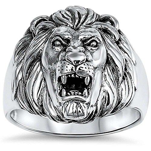 Lion Head Ladies Ring - Lion Ring Solid 925 Sterling Silver Lion Head Ring Men Women Unisex Lion Band Plain Simple