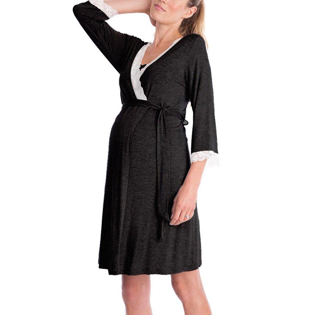 Oliveya Women Black Wrap Hospital Gown for Pregnancy Labor Delivery & Nursing XL