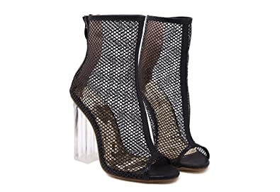1b15bf7531 Image Unavailable. Image not available for. Color: xiaoyang Women's Peep Toe  Sexy High Heels Ankle Pumps Cutout Ankle Booties Dress Sandals Black