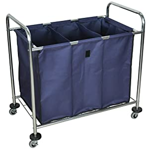 LUXOR HL15 Heavy Duty Industrial Laundry Sorter Cart with Triple Dividers