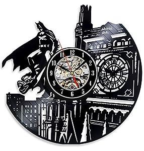 Vinyl clockface in the shape of the skyline and Batman