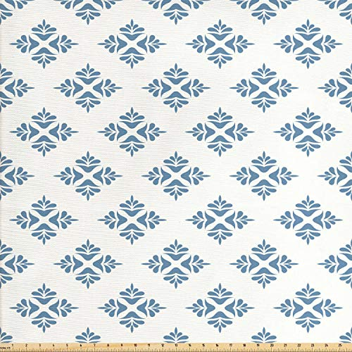 (Ambesonne Geometric Fabric by The Yard, Abstract Leaves Design Symmetrical Foliage Scene Nature Vintage Inspiration, Decorative Fabric for Upholstery and Home Accents, 1 Yard, Slate Blue Cream)